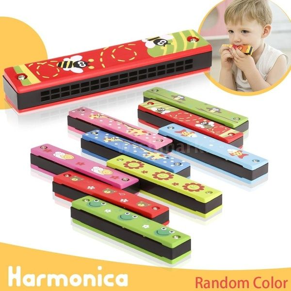 16 Holes Double Row Harmonica,Children Wooden Puzzle Musical Instrument Toys