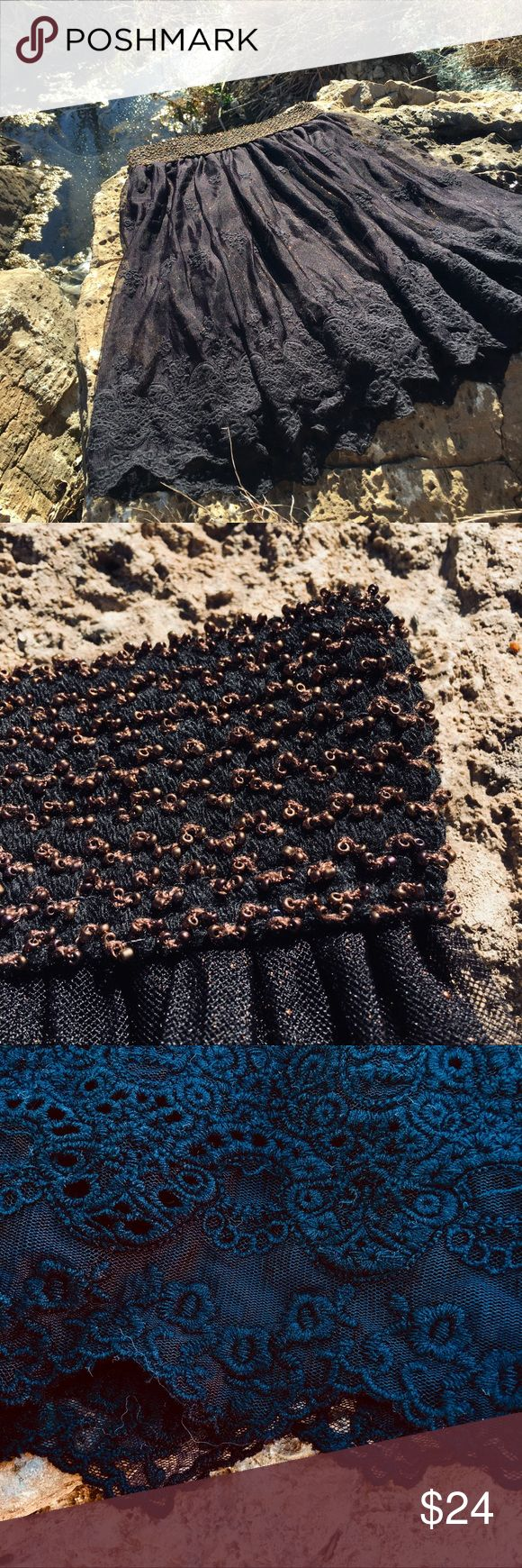 """Miss Me Black and Copper skirt! Prettier than the pictures! This black lace overlay skirt has a shimmer copper underskirt and copper elastic waistband that make this a really pretty piece! The waist is comfortably 24"""" - 27"""". The length from the waist to the hem is 21"""".  Price is firm. Miss Me Skirts Mini"""