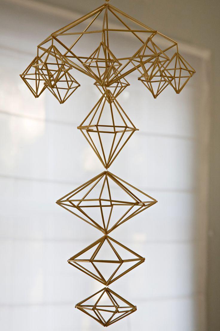 Detail of my himmeli, made of organic rye straw.