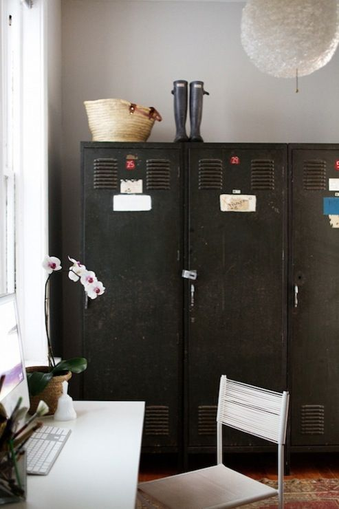 Suzie: Rue Magazine - Eclectic office with vintage black lockers, orchid and desk.