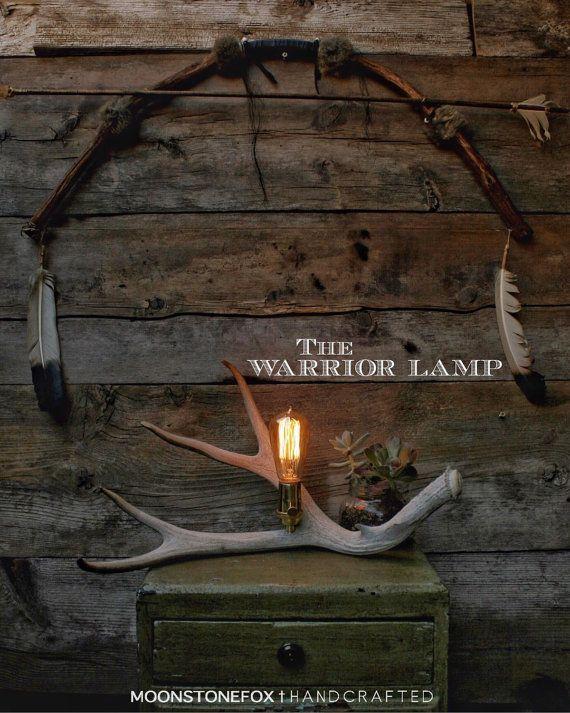The Warrior Lamp  Antler Shed  Desk Lamp  Antler by MoonStoneFox