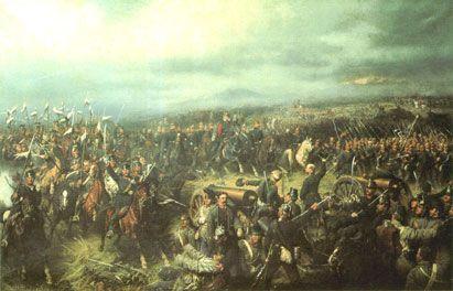 3 preussiske arméer forener sig ved Königgrätz (Sadowa) og tilføjer d. 3 juli 1866 østrigerne det afgørende nederlag