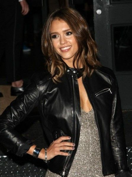 2e643192ba Jessica Alba Designers Black Leather Jacket in 2019 | Fashion Trends ...
