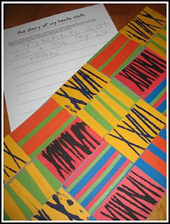 Elementary Kente cloth inspired patterns assignment. What I liked about this was 'The Story of my Kente Cloth.' Could be an interesting Imagine assignment to create a kente cloth pattern and then share the meaning.