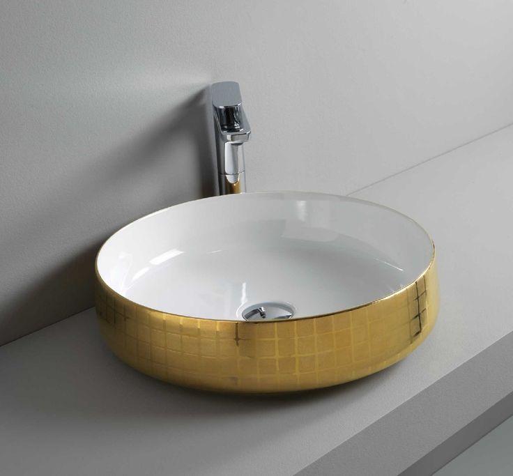 COGNAC countertop washbasin #TheArtceram #gold #bathroom #design - Thin-rim washbasins