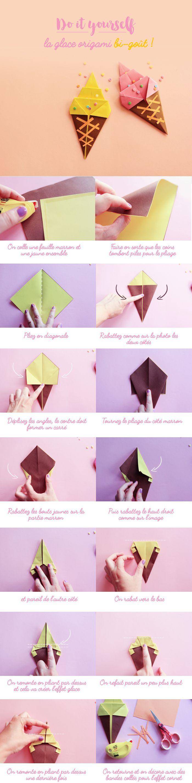Ice cream glace en origami - Poulette Magique ♥️ #epinglercpartager