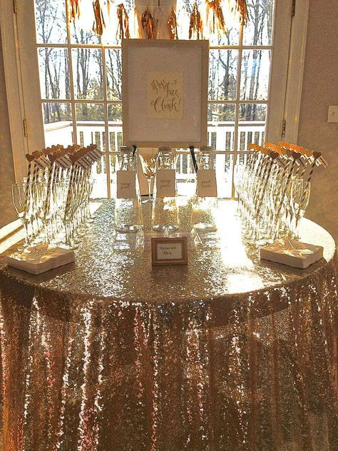 Throwing a brunch and bubbly bridal shower? What better way to serve champagne than on a gold sequin linen? Available in all colors. Call today for availability and pricing.