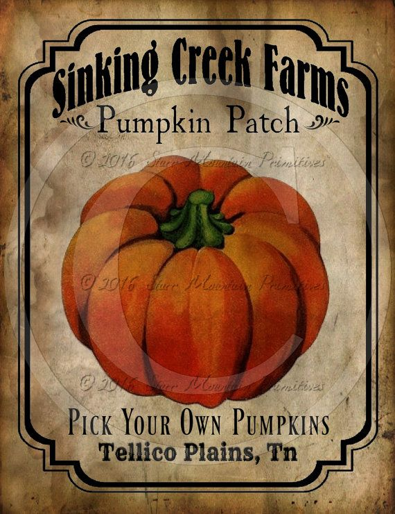 Primitive Vintage Pumpkin Patch Farm Jpeg Digital Image