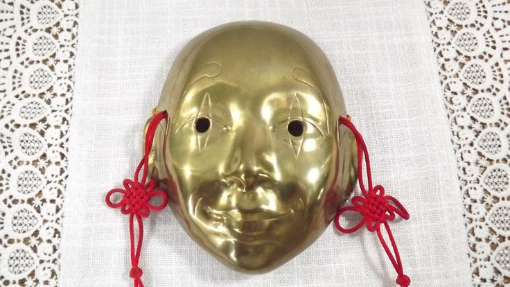 Vintage Chinese Theater Face Mask Solid Brass Wall Decor by OutrageousVintagious on Etsy