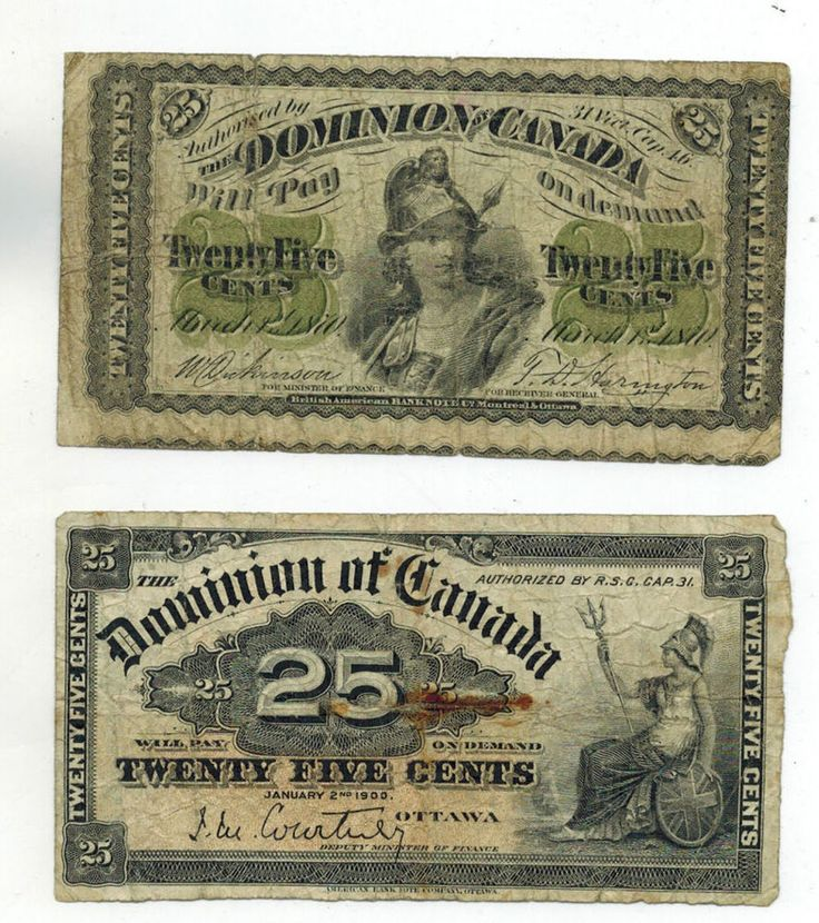 Dominion Of Canada 1870 & 1900 25 Cents Shinplaster DC-1c DC 15a - Reverse side
