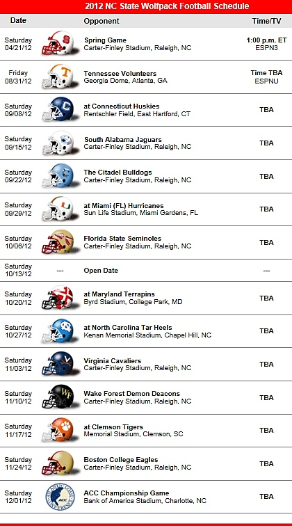 NC State Wolfpack 2012 Football Schedule
