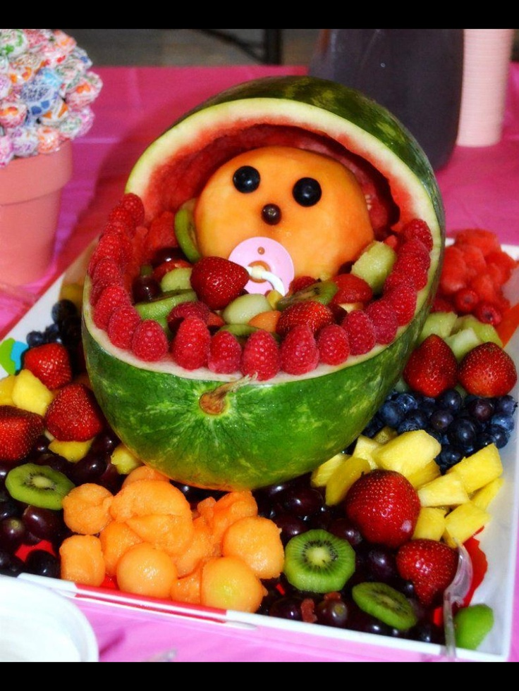 Baby shower fruit tray ok pinterest baby shower for Baby tray decoration