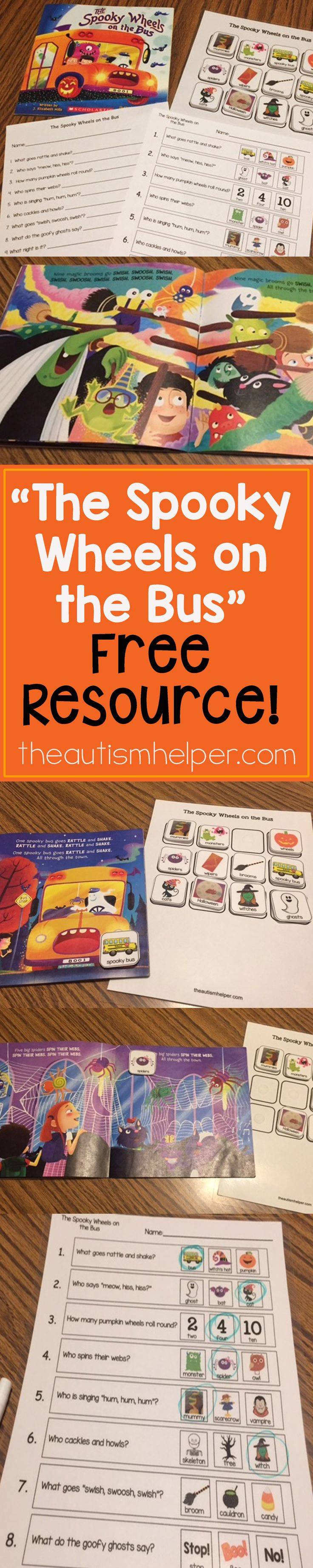 """The Spooky Wheels on the Bus"" kicks off Halloween activities in Speech Therapy. We're sharing FREE book pictures & questions on the blog! From theautismhelper.com #theautismhelper"
