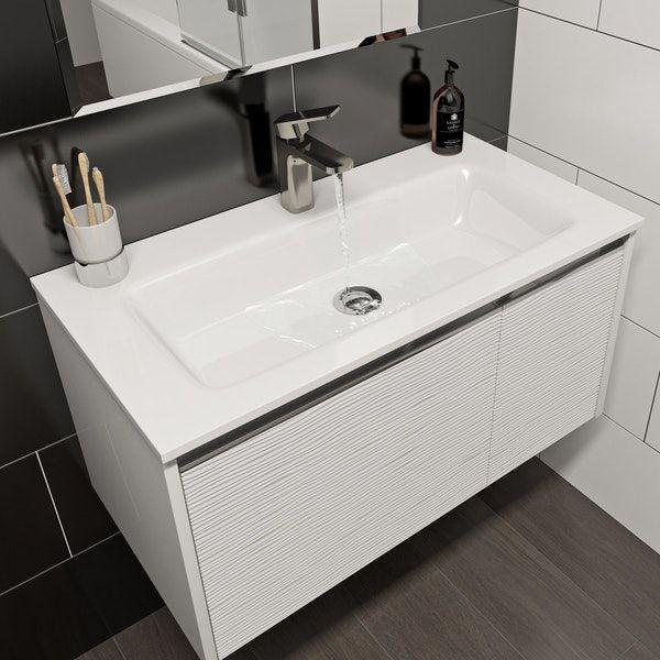 Mode Banks Textured Matt White Wall Hung Vanity Unit 800mm Wall Hung Vanity White Wall Hanging Vanity Units