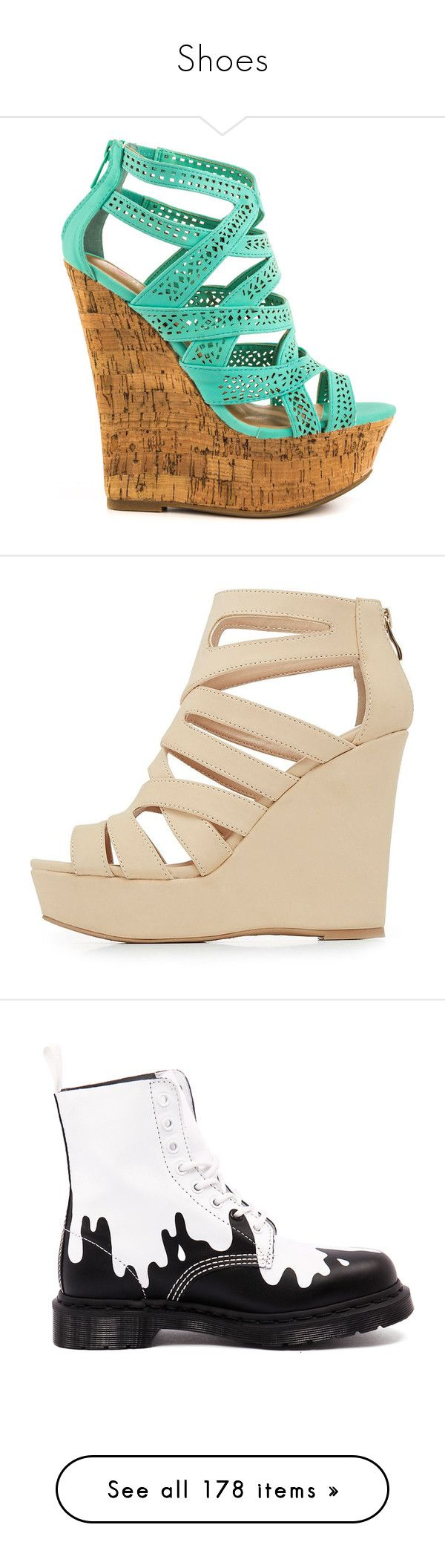 """""""Shoes"""" by meganhenderson845 on Polyvore featuring shoes, sandals, wedges, heels, green, strappy heeled sandals, wedges shoes, wedge sandals, green strappy sandals and strappy wedge sandals"""