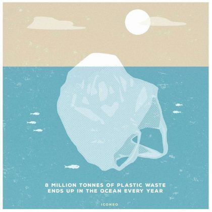 8 million tonnes of plastic warte ends up in the ocean every year.