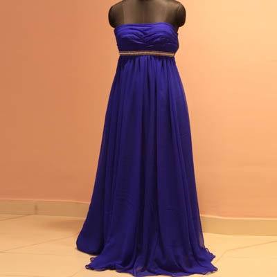 Blue Georgette Gown pleated on the bodice and embroidery at the empire and on the straps.