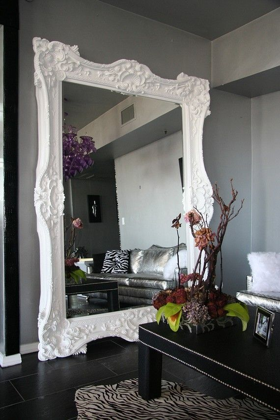 Oversized white standing mirror