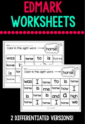 Differentiated worksheets using the word list for Edmark Level 1 (words 1-50).