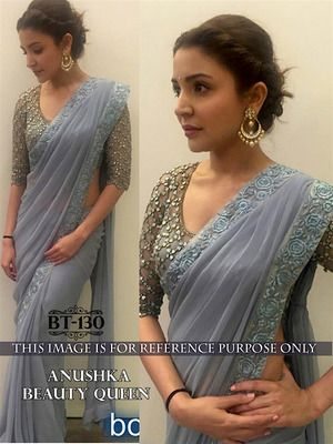 Anushka Grey Plain Georgette Saee With Blouse Bollywood Sarees Online on Shimply.com
