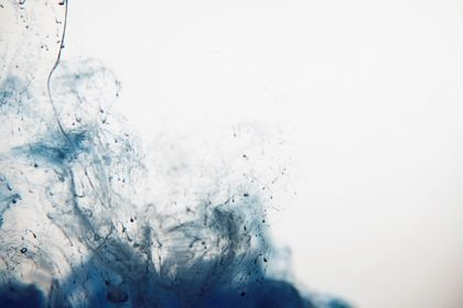 Blue Liquid Paint Mess On White Background #paper #copy #drawing #paint #design #art #brush #light #isolated #hand #abstract #mess #splashing #creative #pattern #acrylic #stain #color #drop #handmade #blue #chaotic #spot #splattered #colorful