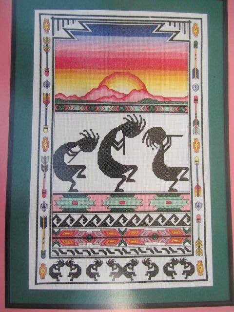 See Sally Sew-Patterns For Less - Kokopelli Border Sampler J.M. Keeling Soutwest Indian Design Cross Stitch Pitter Pattern , $8.99 (http://stores.seesallysew.com/kokopelli-border-sampler-j-m-keeling-soutwest-indian-design-cross-stitch-pitter-pattern/)