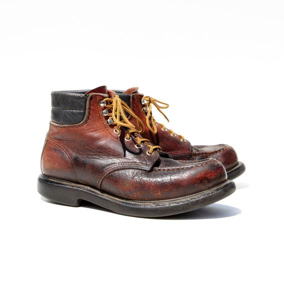 Vintage Red Wings: Distressed Brown Leather Logger Boots.