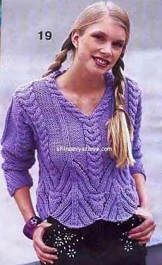 Женский пуловер сиреневого цвета связанный спицами / Стильное вязание
