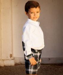 Camisa  Blanca con Cuadros Escoceses