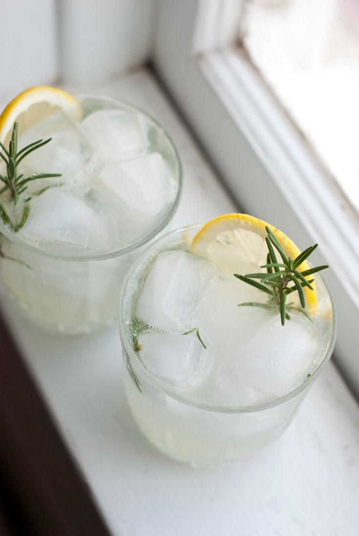 Rosemary Gin Fizz --      3 one-inch sprigs of fresh rosemary / 1 small lemon, juiced / 1/2 teaspoon honey / 1 1/2 ounces gin / 3 ounces club soda // In a small drinking glass, muddle the fresh rosemary, lemon juice and honey. Fill the glass with ice, then pour in the gin and top with club soda. Give it a little swirl with a spoon.
