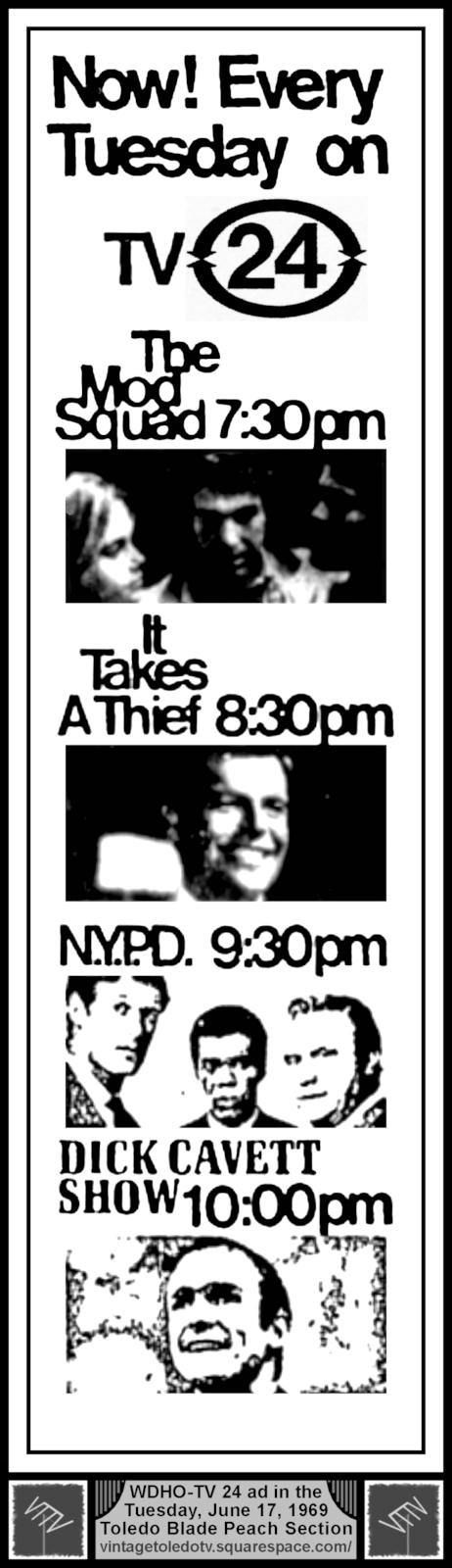 Vintage Toledo TV - WDHO-TV & WNWO-TV24 Print ads - ABC Tuesday Night Shows (6/17/69)