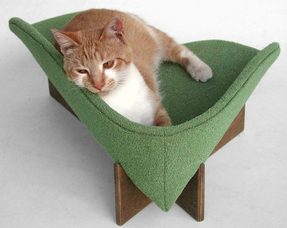Modern cat bed in sage bouclé upholstery by likekittysville, $89.00