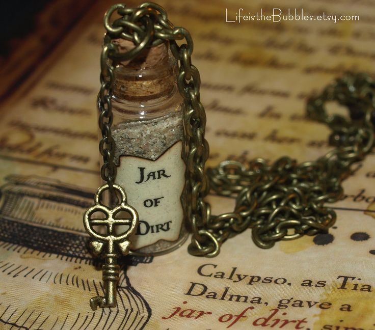 """Jar of Dirt Necklace- Pirates of the Caribbean. """"I've got a jar of dirt,  I've got a jar of dirt""""!"""