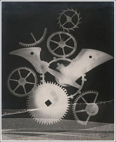 This is a photographic image made without a camera by placing objects directly onto the surface of a light-sensitive material such as photographic paper and then exposing it to light. Man Ray uses this technic in his exploration of rayographs.