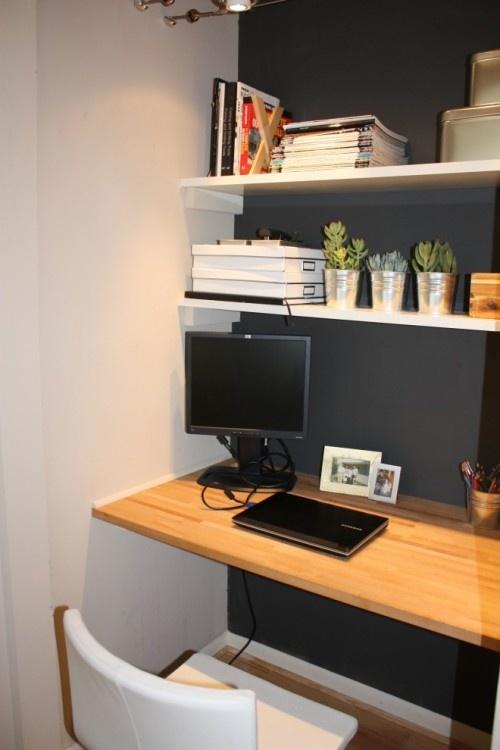 great dark wall color + computer nook space