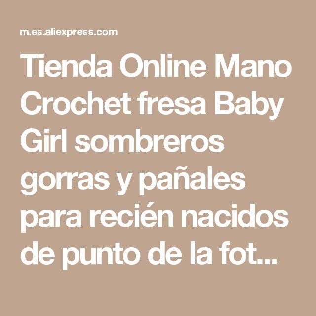 Tienda Online Mano Crochet fresa Baby Girl sombreros gorras y pañales para recién nacidos de punto de la fotografía apoya trajes Set Costume 5 set/lote | Aliexpress móvil