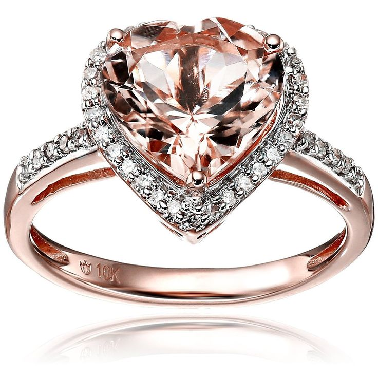 10k Rose Gold Morganite and Diamond Heart Halo Engagement Ring (Size 7), Pink