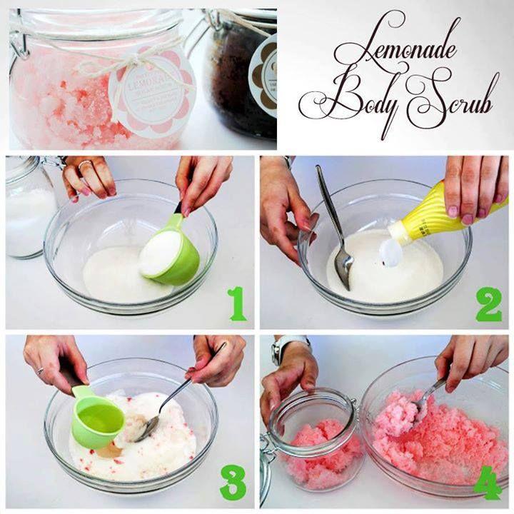 Körperpeeling 2 Tassen weißen Zucker 2/3 Tasse Sonnenblumenöl 2 EL Zitronen oder Limettensaft rote oder rosa Lebensmittelfarbe Einmachgläser Eine Schüssel und Löffel zum Mischen Body Scrub Etiketten 1. Gib den Zucker in eine Schüssel 2. Mische den Zitronensaft zu dem Zucker und vermischen 3. Gib langsam das Öl hinzu und rühre dabei weiter damit sich alles gut vermischt. Dann gebe ein paar Trofen Lebensmittelfarbe 4. Fülle das Körperpeeling in das Einmachglas und beschrifte das Etikett