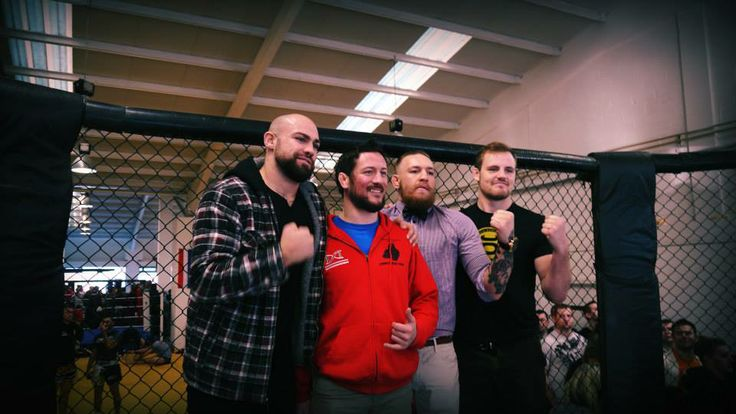 John Kavanagh (JK) 2nd from Left and his Irish Pro-fight team Cathal Pendred, Conor McGregor, Gunnar 'Gunni' Nelson (Iceland)