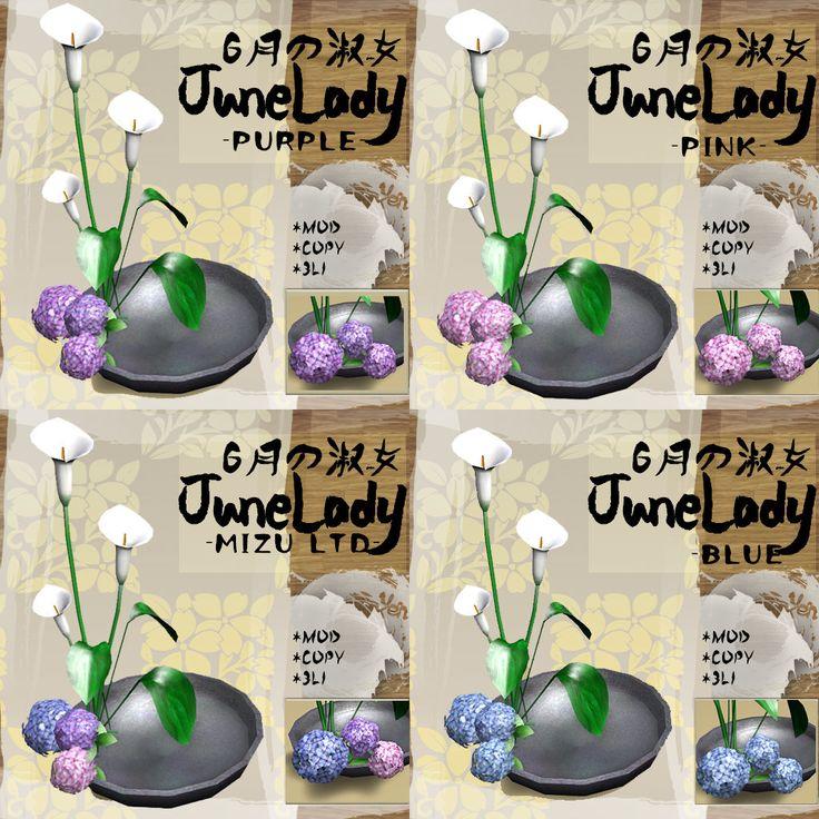 maps.secondlife.com/secondlife/Papillon/26/241/36  Hydrangea 紫陽花 & Language of flowers IKEBANA  IKEBANA is the Japanese art of flower arrangement  MIZUにて先行発売中 MIZU限定版は3色たのしめます