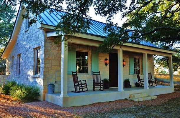 Fredericksburg Cottage (TX Hill Country) Native Texas limestone & metal roof with porch. (1,000 sq. ft.) | by Bonterra Building Design