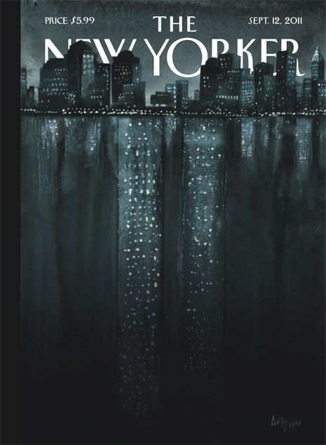 """September 12, 2011, illustration by Ana Juan, whose cover, """"Reflections,"""" commemorates the tenth anniversary of 9/11"""