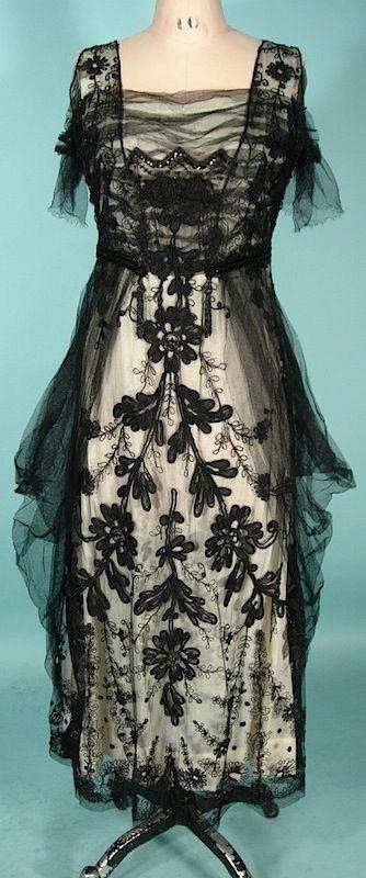 Circa 1913/1914 Black Net Guipure Lace over Ivory Silk Dress
