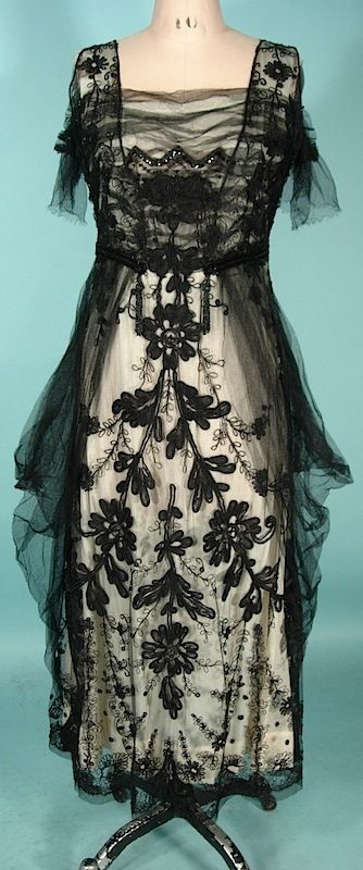 Circa 1913/1914 Black Net Guipure Lace over Ivory Silk Dress