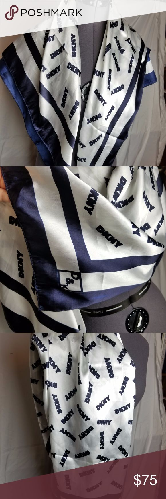 Large silk DKNY scarf Large silk blue and white scarf from DKNY. Excellent condition, no flaws found. Dkny Accessories Scarves & Wraps
