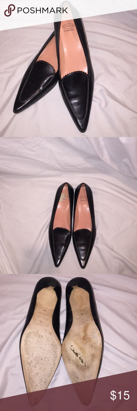 """Joan and David Black Leather Heels Joan and David Black Leather Heels. Sophisticated and classic with Joan and David quality. Zoom in on the zig zag cut on top of the foot.   This is a great dress pants shoe. It has the hard to find 1.5"""" heel. Leather upper and leather soles. Joan & David Shoes Heels"""