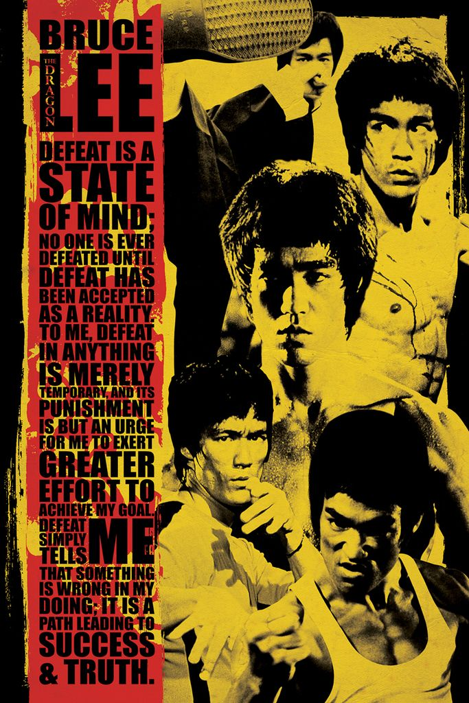 Bruce Lee Montage Defeat Is A State Of Mind Quote Poster 24x36 Foundry