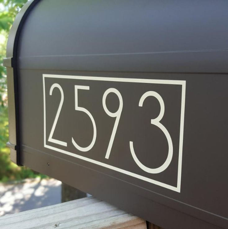 Sans Serif Modern Mailbox Number Stickers with Border ...