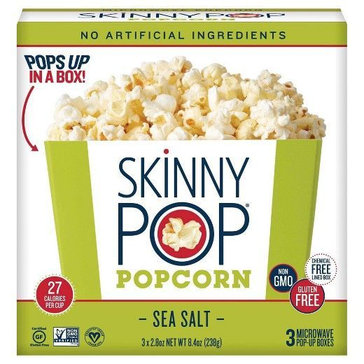 Skinny Pop Sea Salt Popcorn - Bowls 3 Pack - 8.4oz