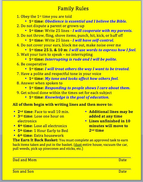 logical consequences house rules parent child contract
